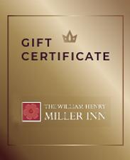 Gift Certificates for The William Henry Miller Inn in Ithaca New York